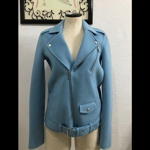 Theory Jackets & Coats - NWOT Theory Ocean Blue Wool Cashmere Biker Jacket